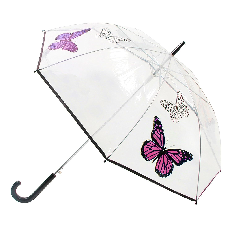 Ombrello Trasparente con Farfalle - Donna (Taglia unica) (Farfalle/Rosa) Universal Textiles UTUM257_2