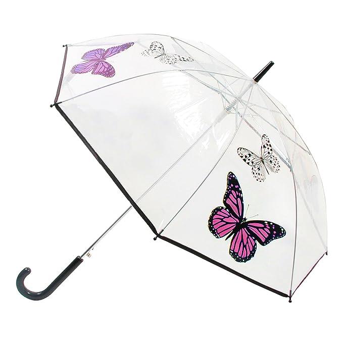 Paraguas de paseo transparente con diseño de mariposas y apertura automática para mujer (Talla Única