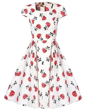 MISSMAO 1950er Damen Retro Kleider Elegant Vintage Kleid Festtags Kleidung  Baumwolle A-Linie Swing XXL 341fe60eb9