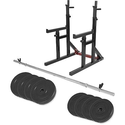 Gorilla Sports Multi Squat Rack Rodillera ubeugen Soporte con Pesas (Juego DE 30 kg de