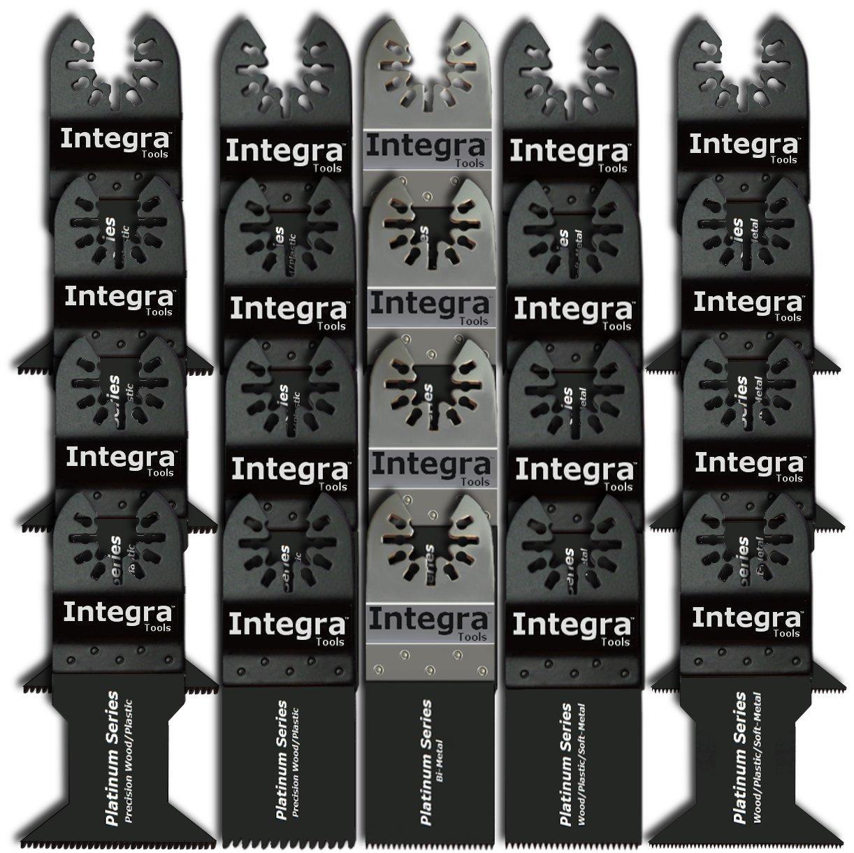 INTEGRA 20pc Mix Saw Wood Bi-metal Precision Pack Oscillating Multitool Quick Release Saw Blade Fit Fein Multimaster Porter Cable Black & Decker Bosch Ridgid Ryobi Milwaukee DeWalt Chicago Craftsman
