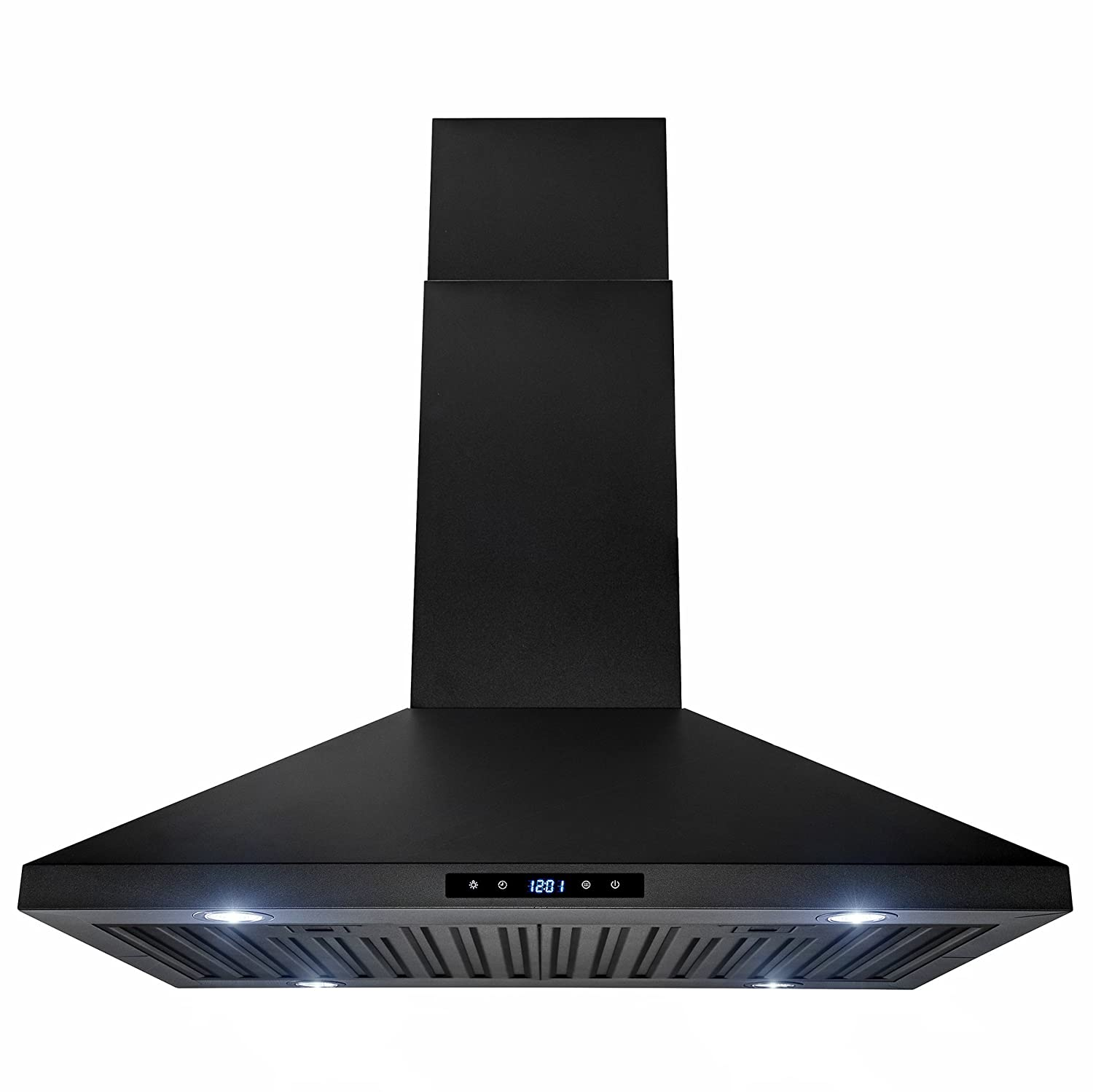 AKDY 30' Island Mount Black Stainless Steel Touch Panel Kitchen Range Hood Cooking Fan