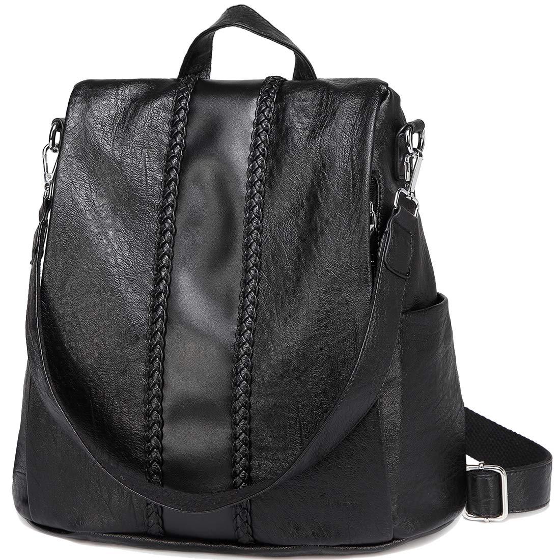 Backpack Purse for Women,VASCHY Fashion Faux Leather Convertible Anti-theft Backpack for Ladies with Vintage Weave Black
