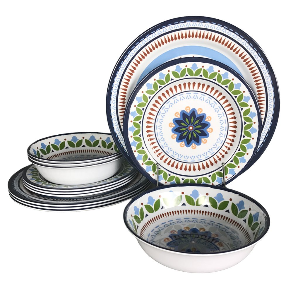 12 Pcs Melamine Dinnerware Set - Rustic Plates and bowls Set for Camping, Service for 4, Dishwasher Safe by Hware (Image #1)