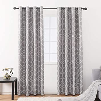 Jarl home Blackout Curtain Sets for Living Room Jacquard Lattice Geometric  Thermal Grommet Design Kitchen Window Curtains(52\