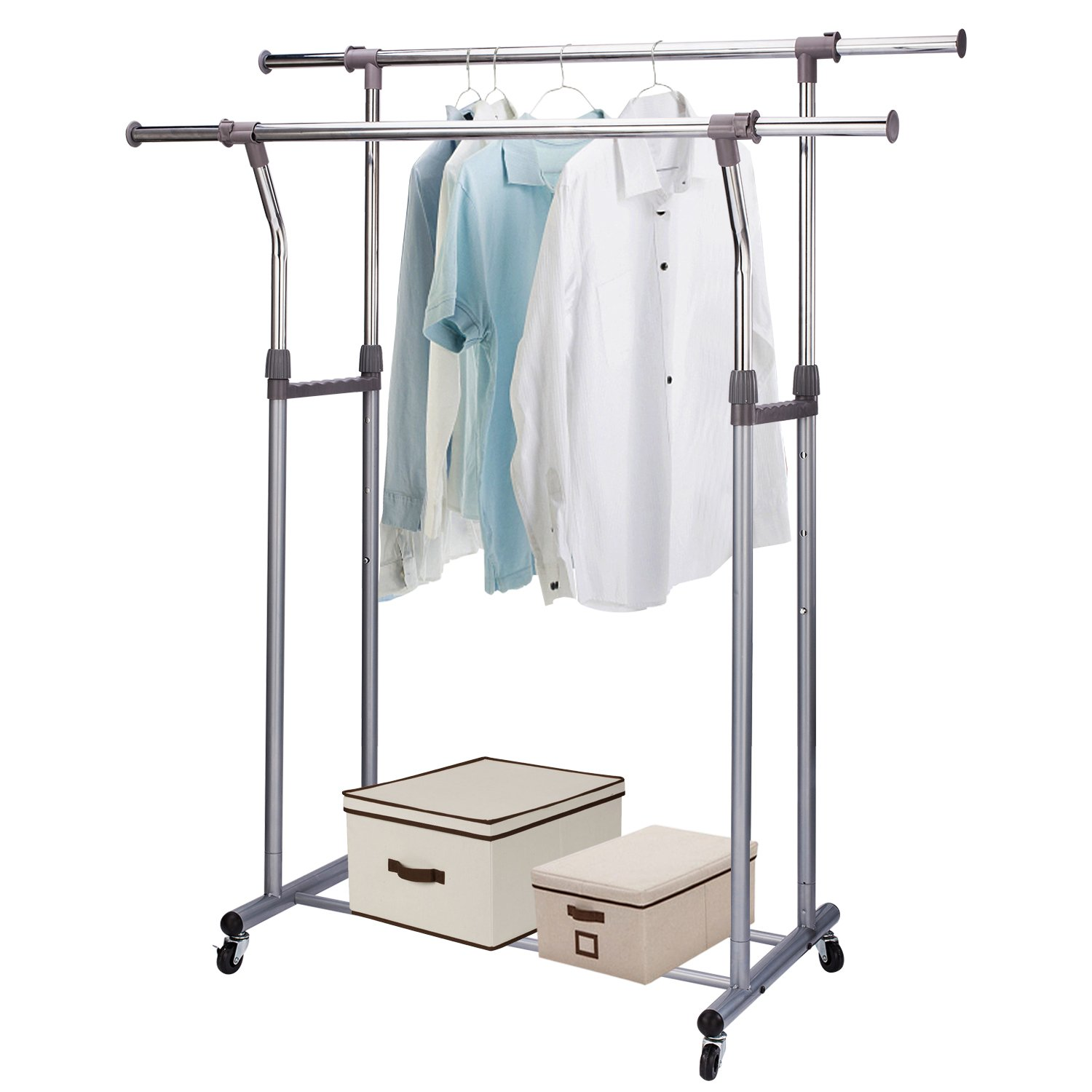 Rukerway Heavy Duty Garment Rack Double Rail Adjustable Clothing Rack Supreme Rolling Rack Laundry Drying Rack, Chrome Finish (Double Rail)