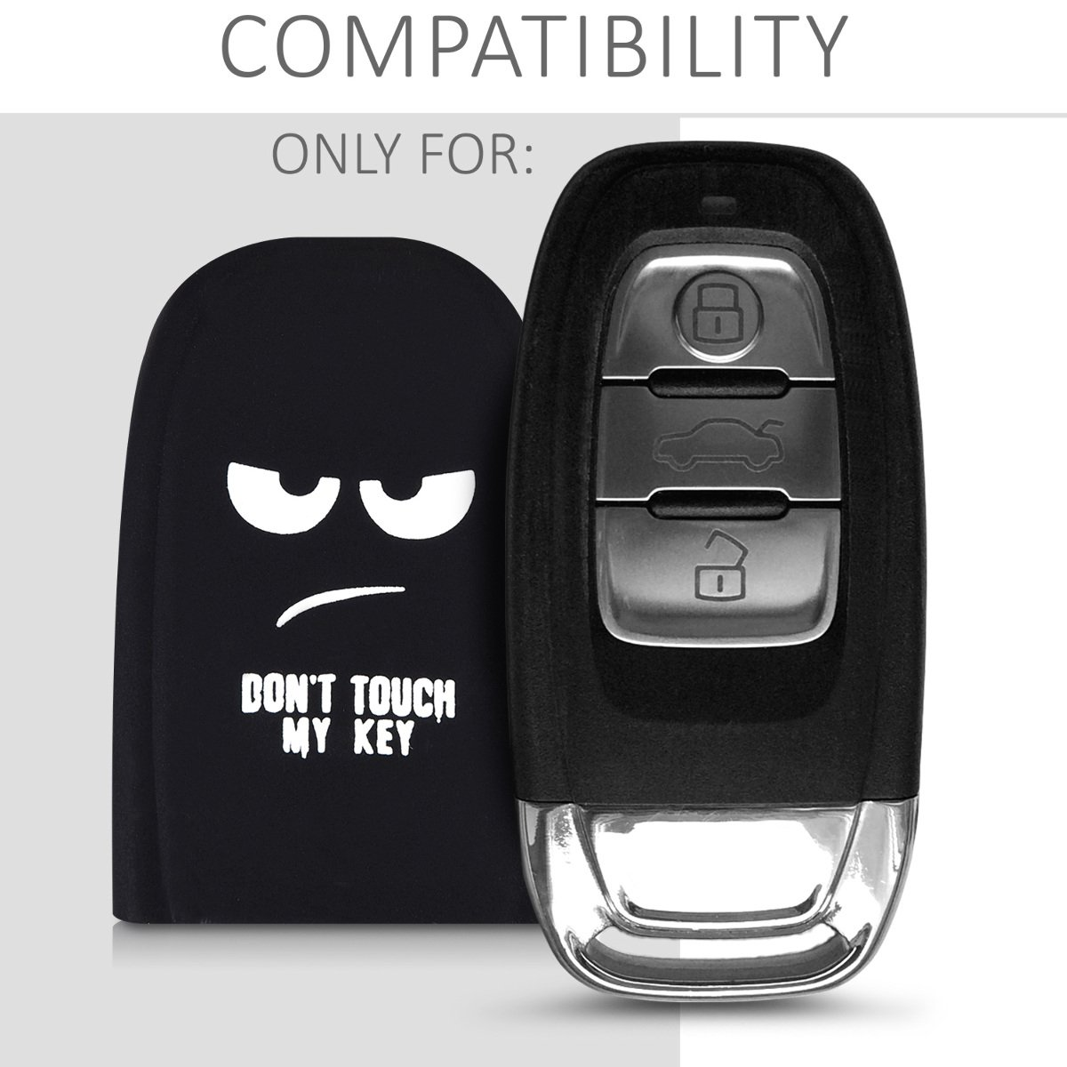 kwmobile Funda para Llave Keyless de 3 Botones para Coche Audi - Carcasa Protectora [Suave] de [Silicona] - Case de Mando de Auto con diseño Dont ...