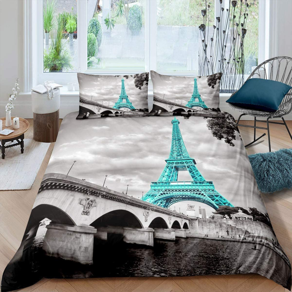 Eiffel Tower Duvet Cover Set Girls Chic Teal Paris Theme Bedding Set for Kids Teens Women Bedroom Decor Paris Cityscape Printed Comforter Cover Microfiber Modern French Style Bedspread Cover Twin