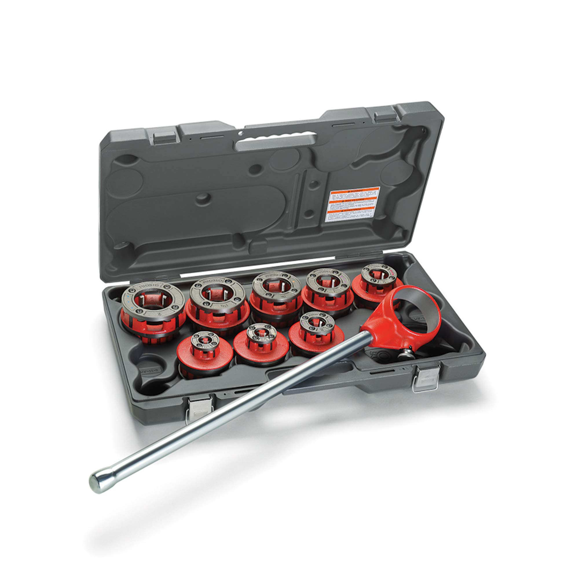 RIDGID 36475 Exposed Ratchet Threader Set, Model 12-R Ratcheting Pipe Threading Set of 1/2-Inch to 2-Inch NPT Pipe Threading Dies and Manual Ratcheting Pipe Threader with Carrying Case by Ridgid (Image #1)