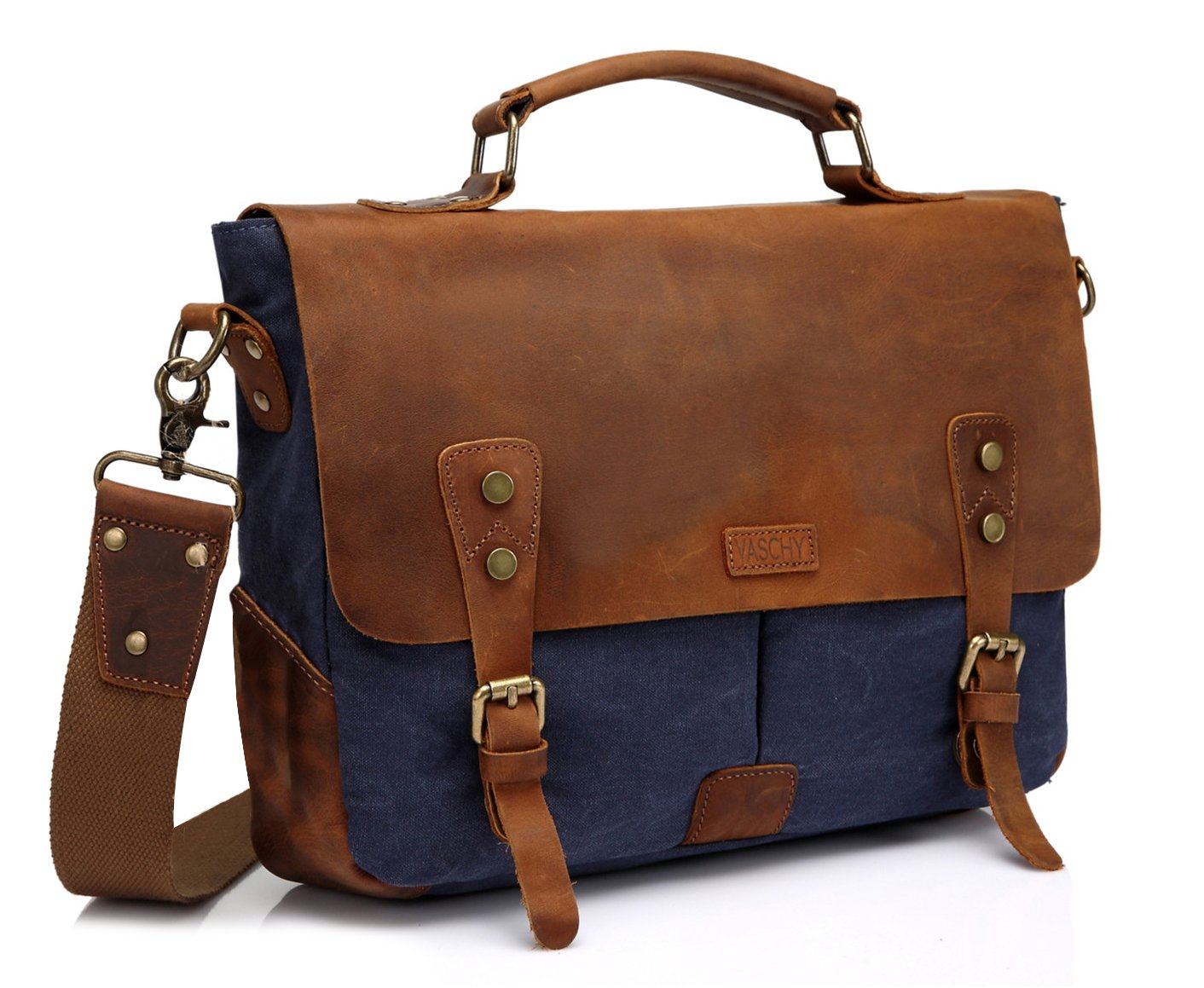 Vaschy Casual Genuine Leather Canvas messenger Bag Notebook Shoulder Bag Bookbag with Detachable Strap