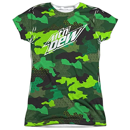 Amazon.com  Trevco Mountain Dew Camo Dew Women s Sublimated T Shirt ... 3f01b435fe