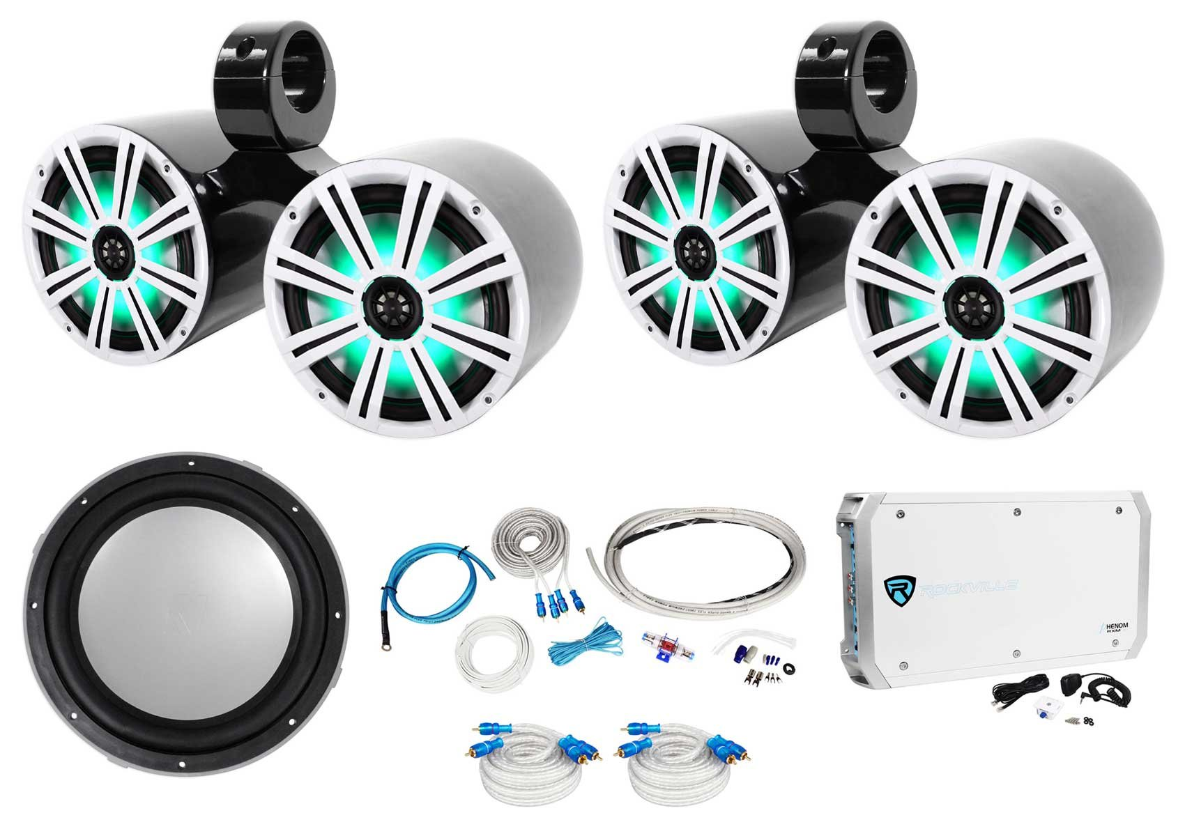 (2) Kicker Dual 8'' Marine Wakeboard LED Speakers+Sub+6-Channel Amplifier+Amp Kit