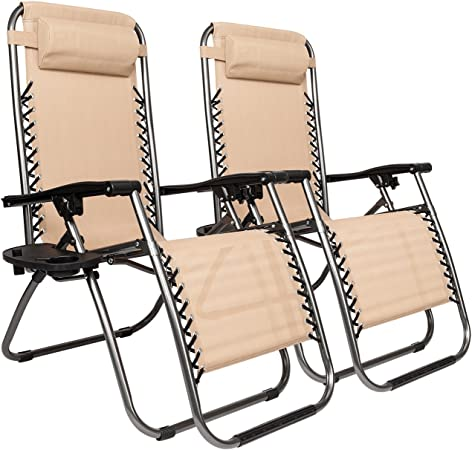 2 Folding Zero Gravity Lounge Chairs+Utility Tray Outdoor