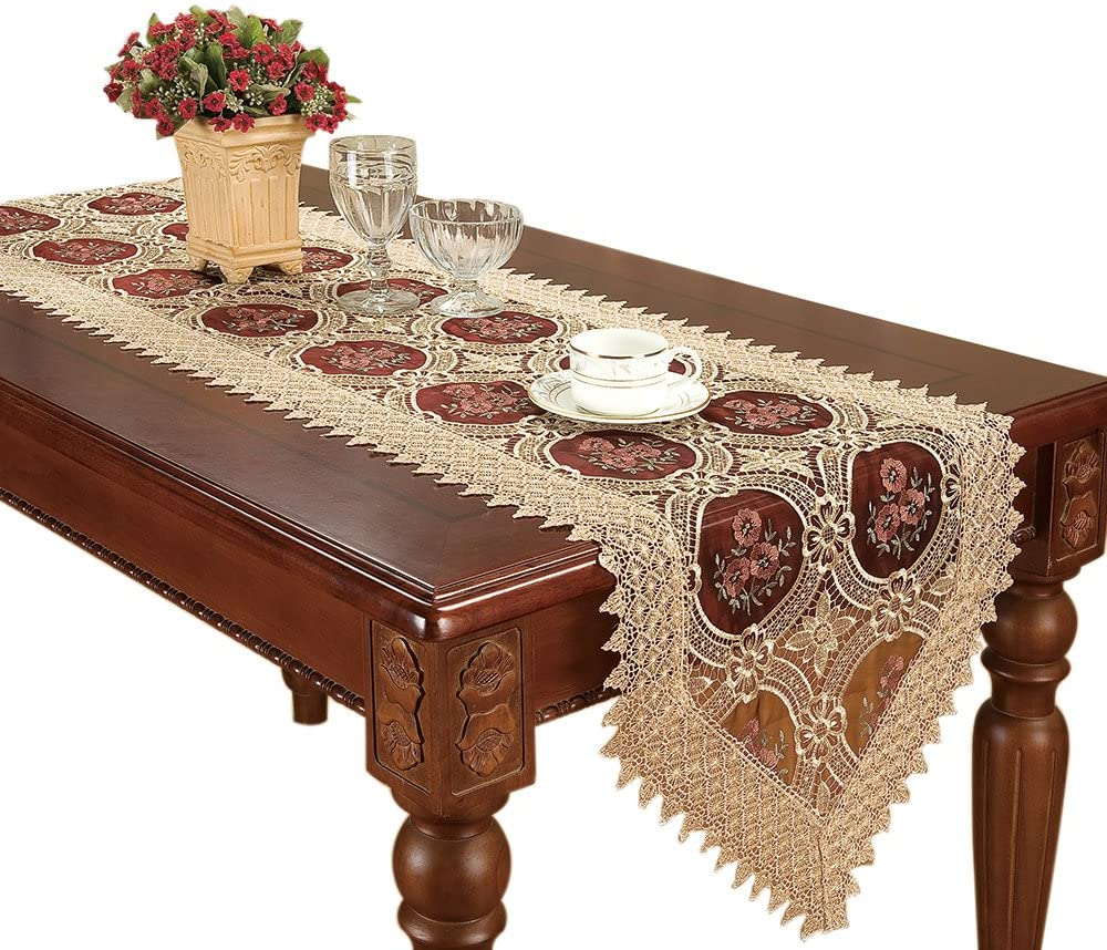 Simhomsen Embroidered Floral Vintage Gold Burgundy Lace Table