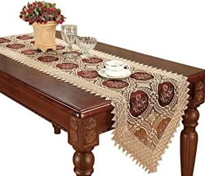 Simhomsen Gold Floral Lace Table Runner Embroidered Wine Red Translucent Gauze 16 By 60 Inch