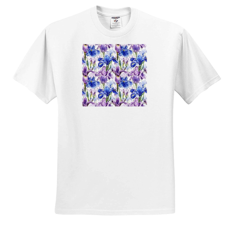 Pattern Floral Iris 3dRose Alexis Design T-Shirts Elegant Pattern of Violet and Blue iris Fleur de lis Flowers