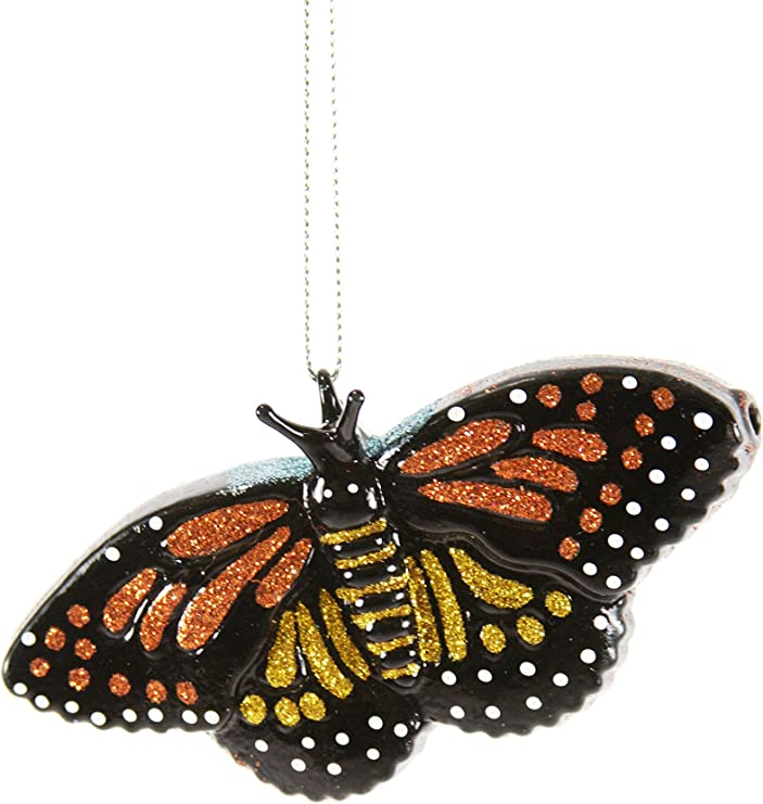 Amazon Com Cody Foster Co Monarch Butterfly Glitter Glass Hanging Ornament Home Kitchen