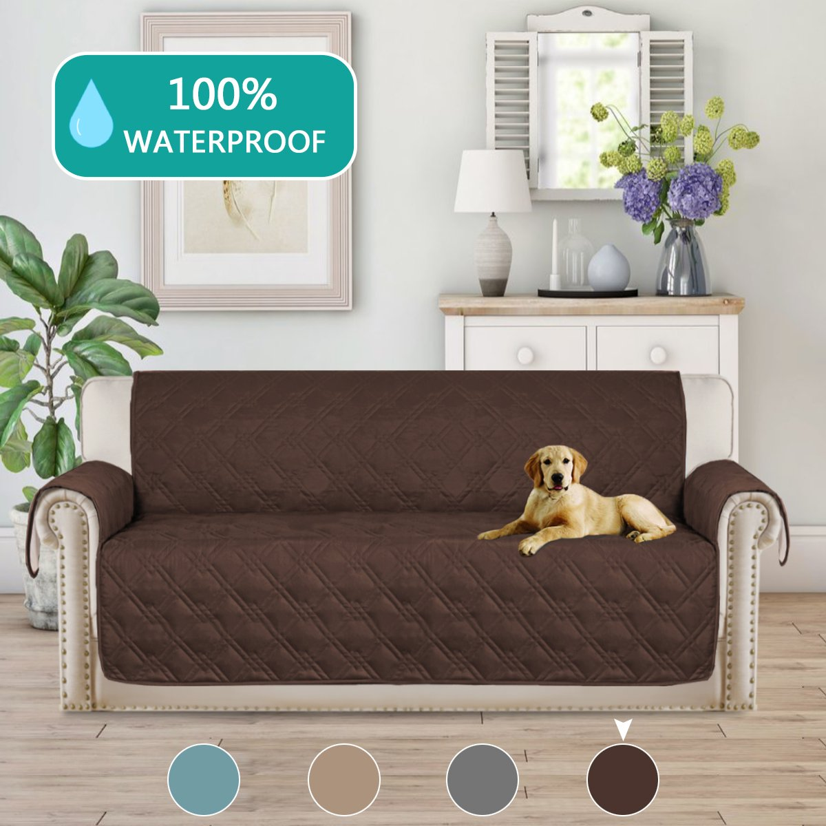Turquoize Deluxe Quilted Furniture Protector Sofa Slipcover 100% Waterproof with Anti-Skip Little Dog Paw Print, Machine Washable, Slipcover Perfect for Pets and Kids(Sofa,75''x112'') Brown by Turquoize