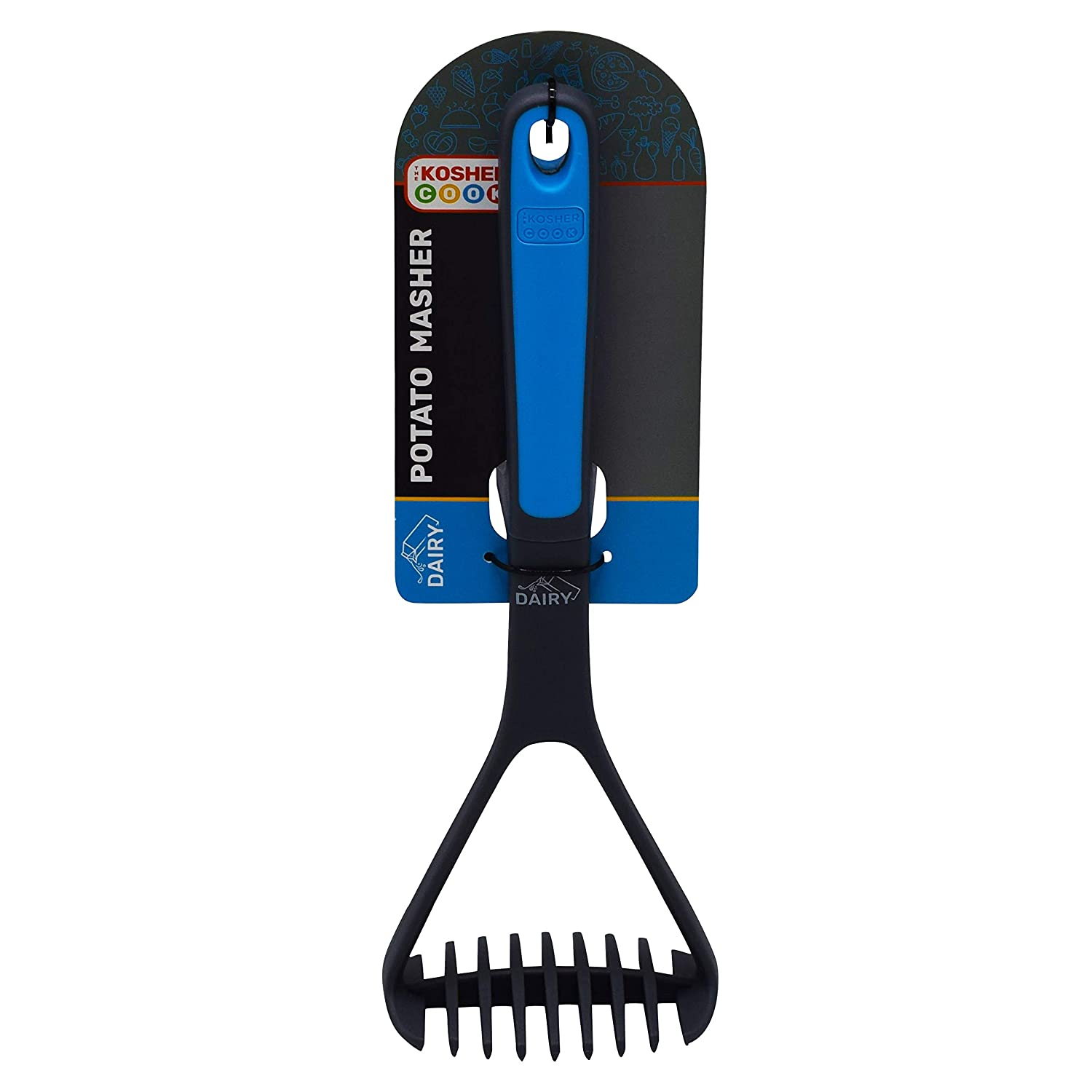 Color Coded Home and Kitchen Accessories by The Kosher Cook Comfortable Grip Soften and Crush Hot and Cold Cooked Foods Easily Mash Non Stick Silicone Dairy Blue Potato Masher Long