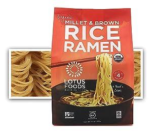Lotus Foods Gourmet Organic Rice Ramen Noodles, Millet and Brown Rice, 6 Count