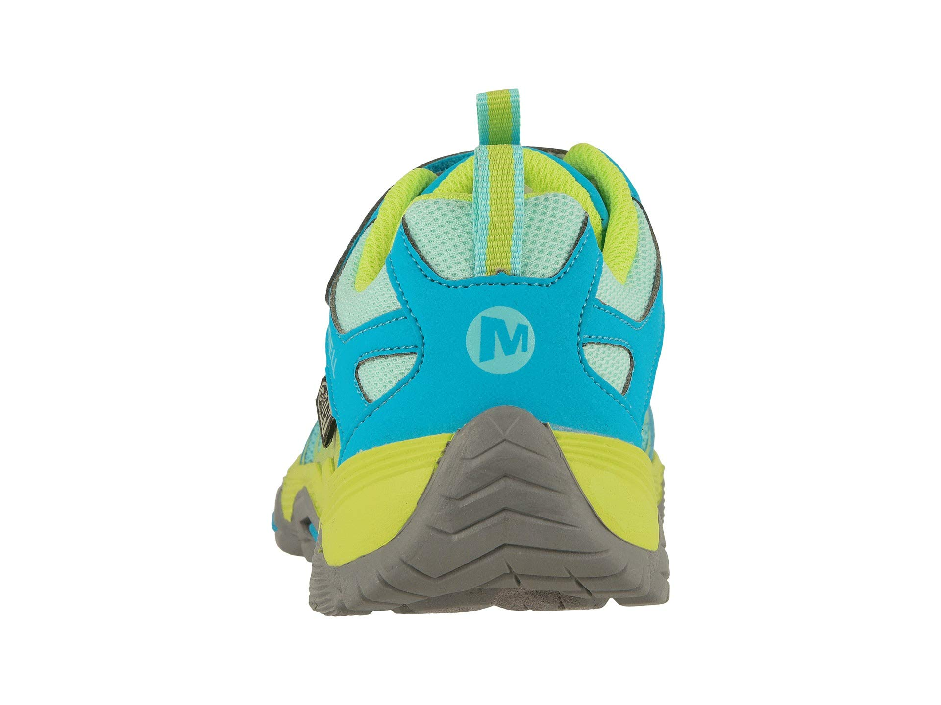 Merrell Girls' Moab FST Low A/C WTRPF Hiking Shoe, Turq/Lime, 13.5 M US Little Kid by Merrell (Image #3)