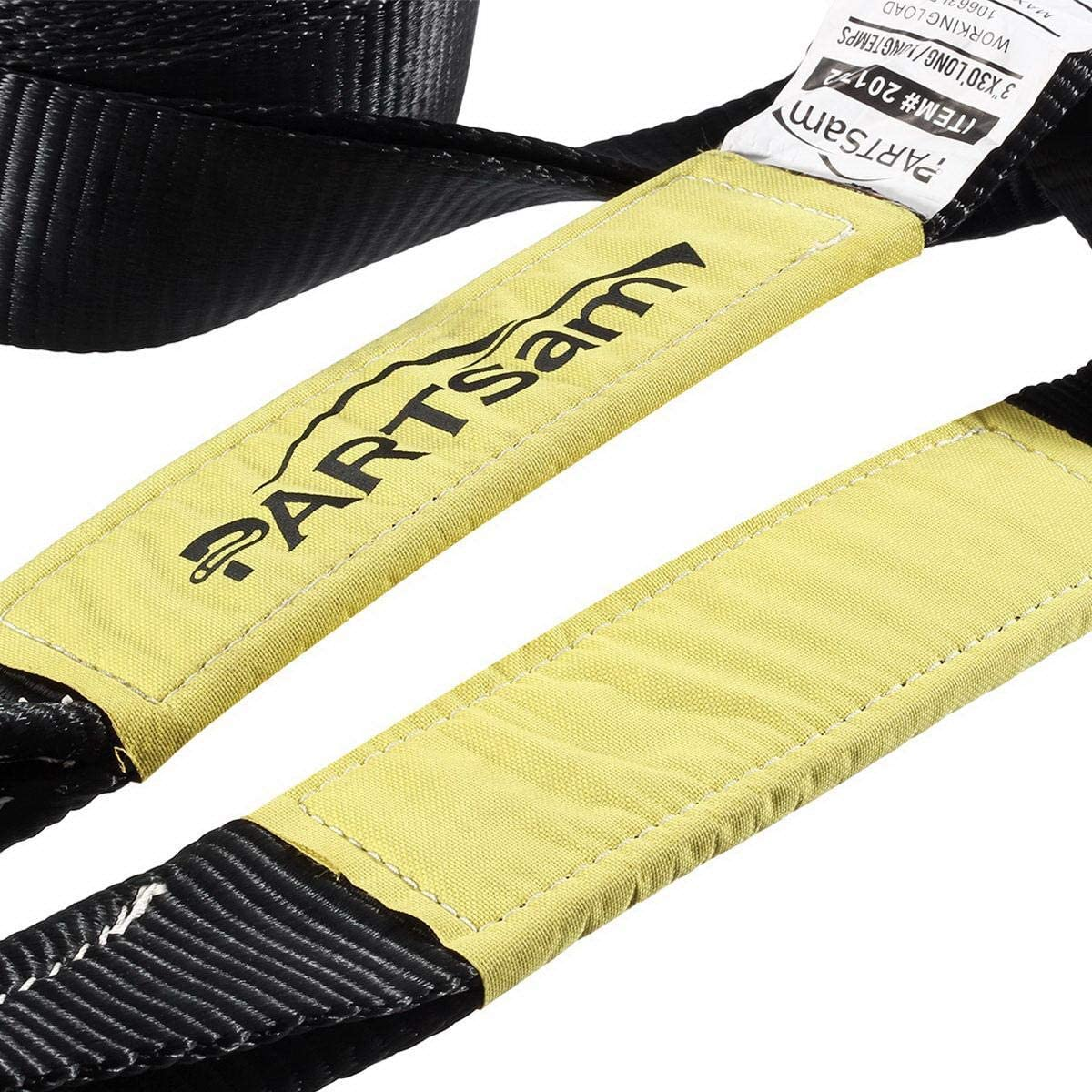 Partsam Recovery Tow Strap 3 x 30-30000 lbs Break Strength Heavy Duty Recovery Strap with Triple Reinforced Loop Ends Emergency Off Road Truck Accessories Towing Strap Rope Storage Bag