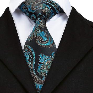 AK Corbata para hombre Sn-1692 Corbata Negro Azul Paisley Corbata ...