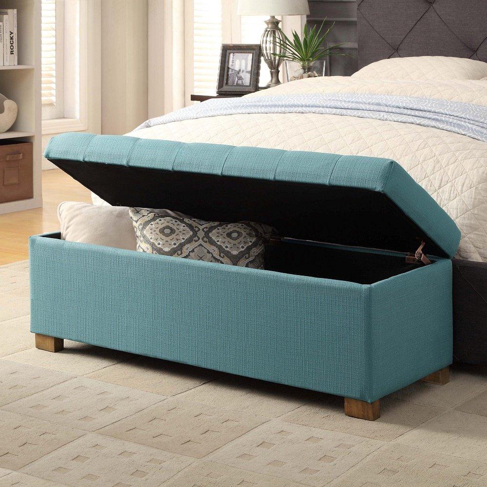 HomePop Laguna Large Tufted Storage Bench Blue