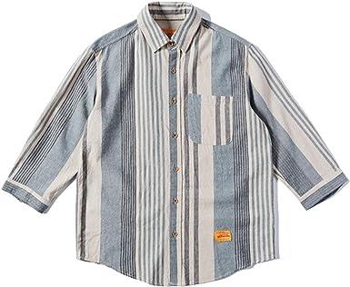 Camisa de Dos Colores a Rayas con Mangas Tres Cuartos Camisa ...