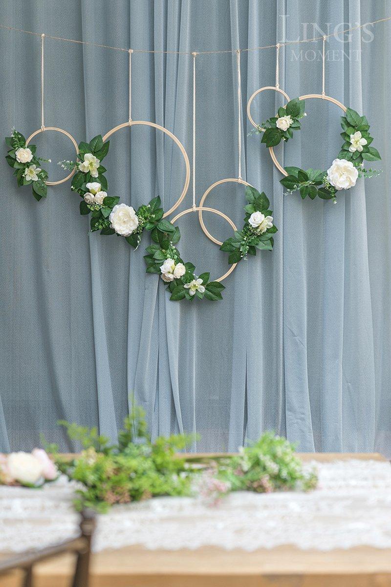Lings-moment-Summer-Greenery-Wedding-Vine-Wreaths-Set-of-6-Floral-Wreath-Boho-Wedding-Decor-Rustic-Wedding-Backdrop-Artificial-Flowers-Ceremony-Communion-Farmhouse-Woodland-Decoration