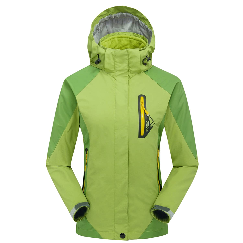 emansmoer Damen 3 in 1 Winddicht Kapuze Wasserdicht Atmungsaktiv Jacke Outdoor Camping Wandern Sport Mantel mit Fleecejacke