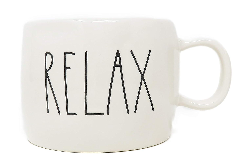 Rae Dunn By Magenta RELAX Ceramic LL Coffee Tea Mug 2019 Limited Edition Short Style
