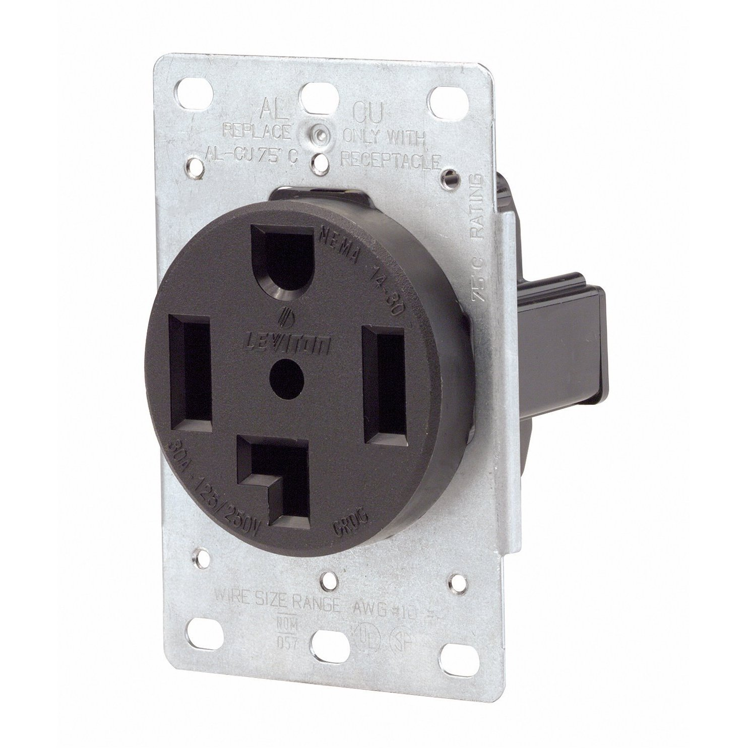 71OtTvFXyFL._SL1484_ amazon com receptacle, single, 30a, 14 30r, 250v, black home leviton 30a flush mount power outlet wiring diagram at bayanpartner.co