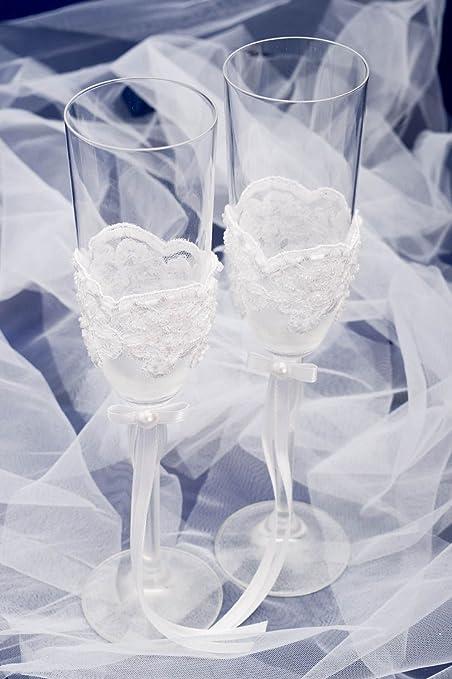 Copas de novios hechas a mano con encaje detalles de boda regalo original: Amazon.es: Hogar