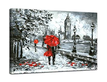 Amazoncom Amemny Canvas Art Black And White Red Umbrella Couple