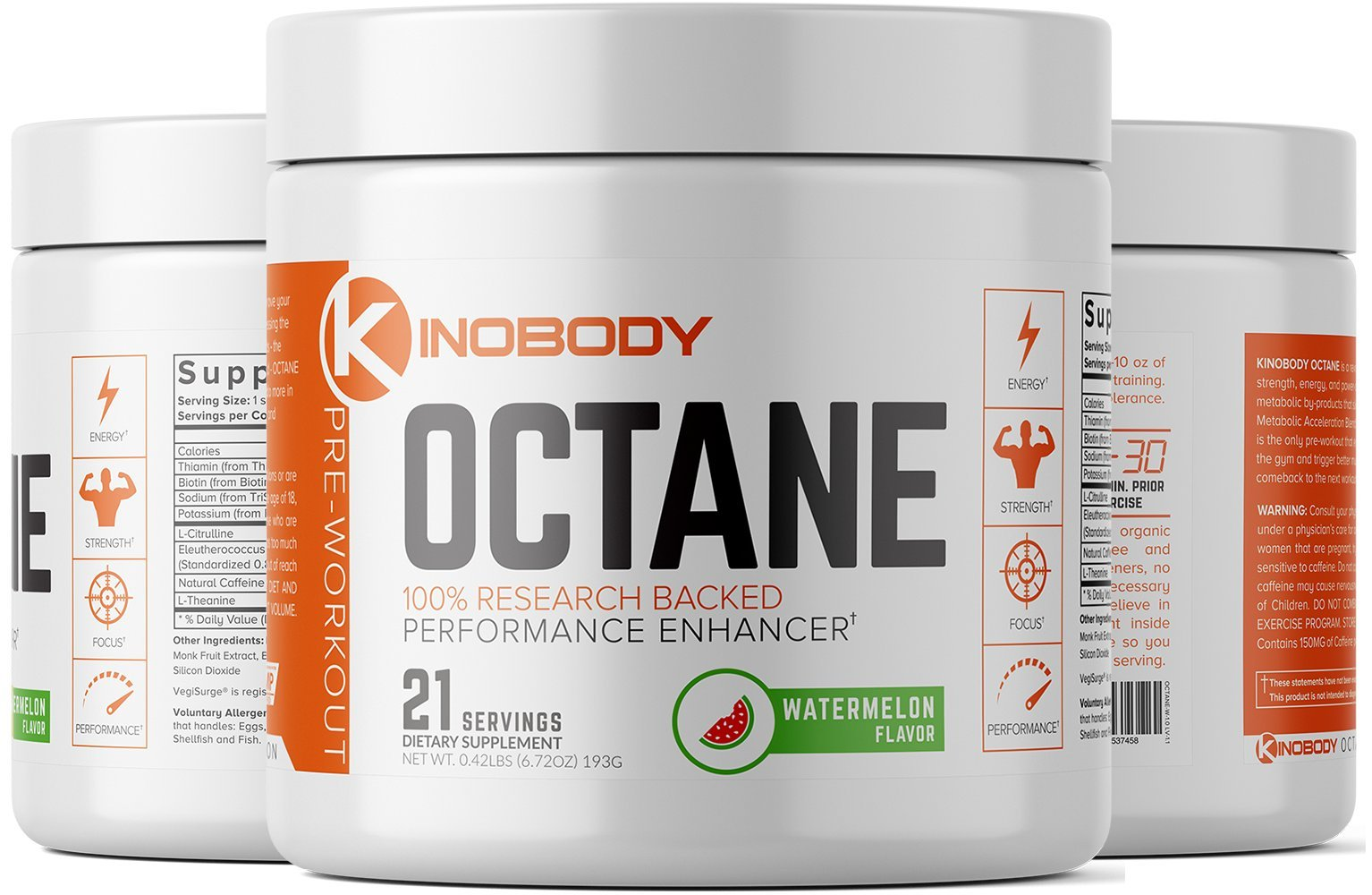 Kinobody: Octane - Pre-Workout Supplement - 21 Servings - 100% Research Backed Performance Enhancer - Boosts Energy - Improves Recovery Time - Decreases Metabolic Stressors - Builds Stamina