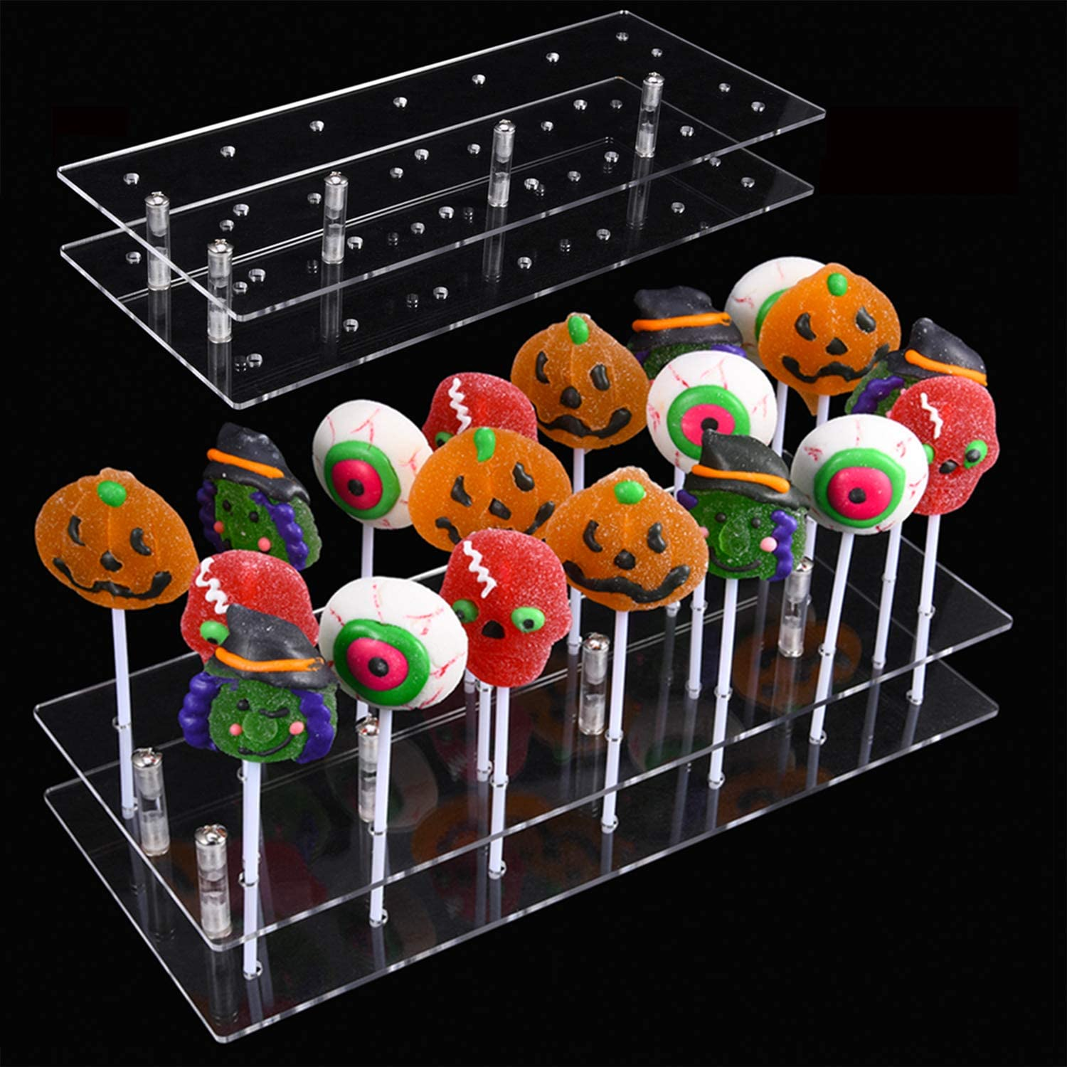 20 Hole Clear Acrylic Lollipop Display Stand Cake Pop Stand Candy Stand Holder Base for Birthday Party Halloween Decoration