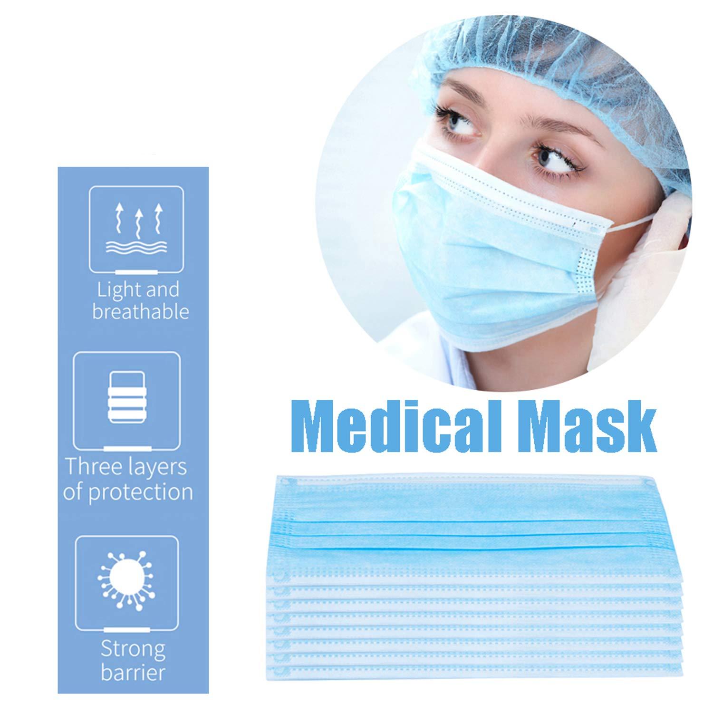 AOFFLY - 50 máscaras para la boca estándar – bolsa sellada – mascarillas higiénicas para la boca disponibles en el Reino Unido, protección de la salud y cuidado de esteticistas, color azul