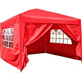 Airwave 3x3mtr Pop Up Waterproof Gazebo in in Red with 2 WindBars and 4 Leg Weight Bags