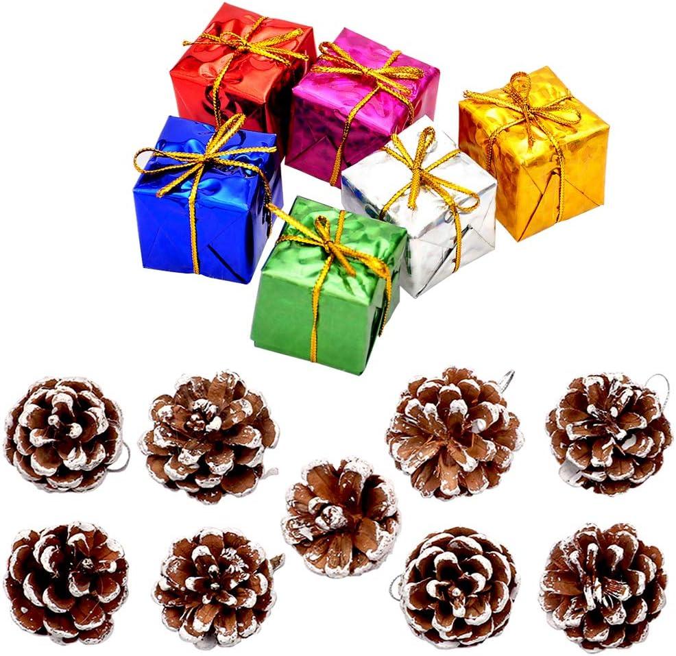 yeemeen 15PZ Árbol de Navidad Ornamento Conjunto Navidad Adornos Conos de Pino de Navidad con Cuerda Bolas de Navidad Vistoso Caja de Regalo para Árbol de Navidad Casa Navidad Decoración de Bodas
