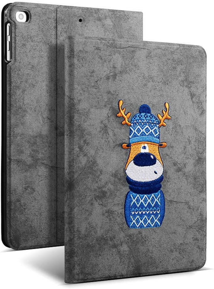 Aoub iPad 9.7 inch Case,Stand Folio Cover Case for Apple iPad 5th/6th Generation, Three-Dimensional Embroidery Smart Tablet Case for iPad air 1/2 Grey