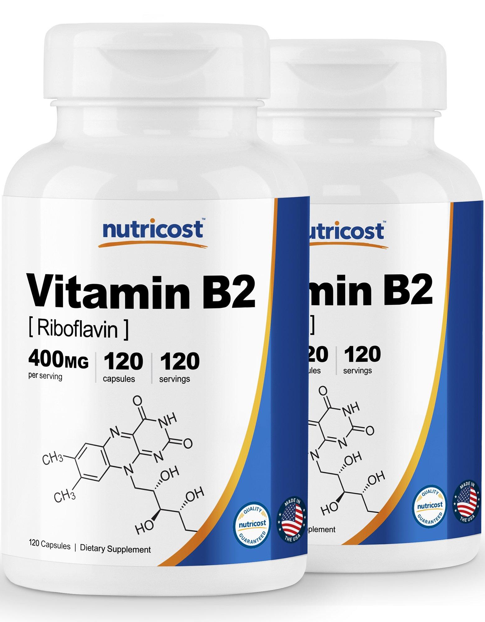 Nutricost Vitamin B2 (Riboflavin) 400mg, 120 Capsules (2 Bottles)