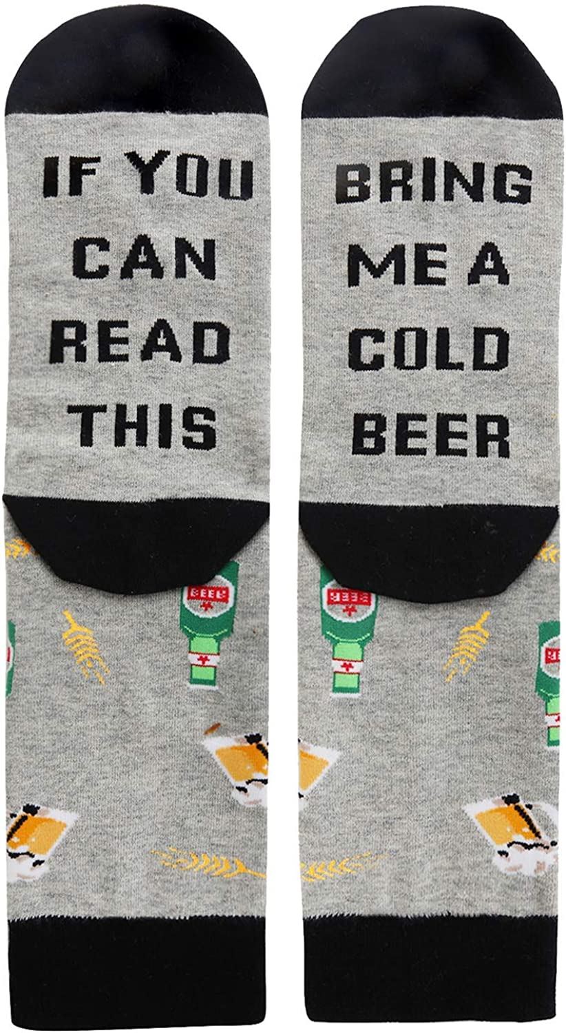 IF YOU CAN READ THIS Funny Saying Knitting Word Combed Cotton Crew Wine Coffee Beer Socks for Men Women UZO-B076P9DZYM