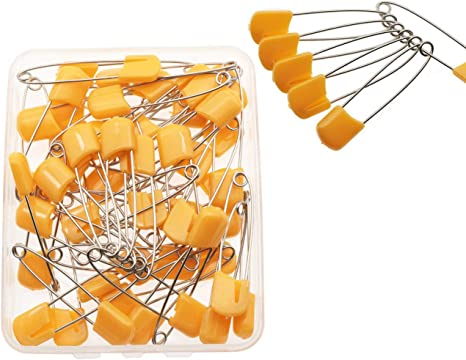 100 Pack Yellow Plastic Headed Diaper Pins