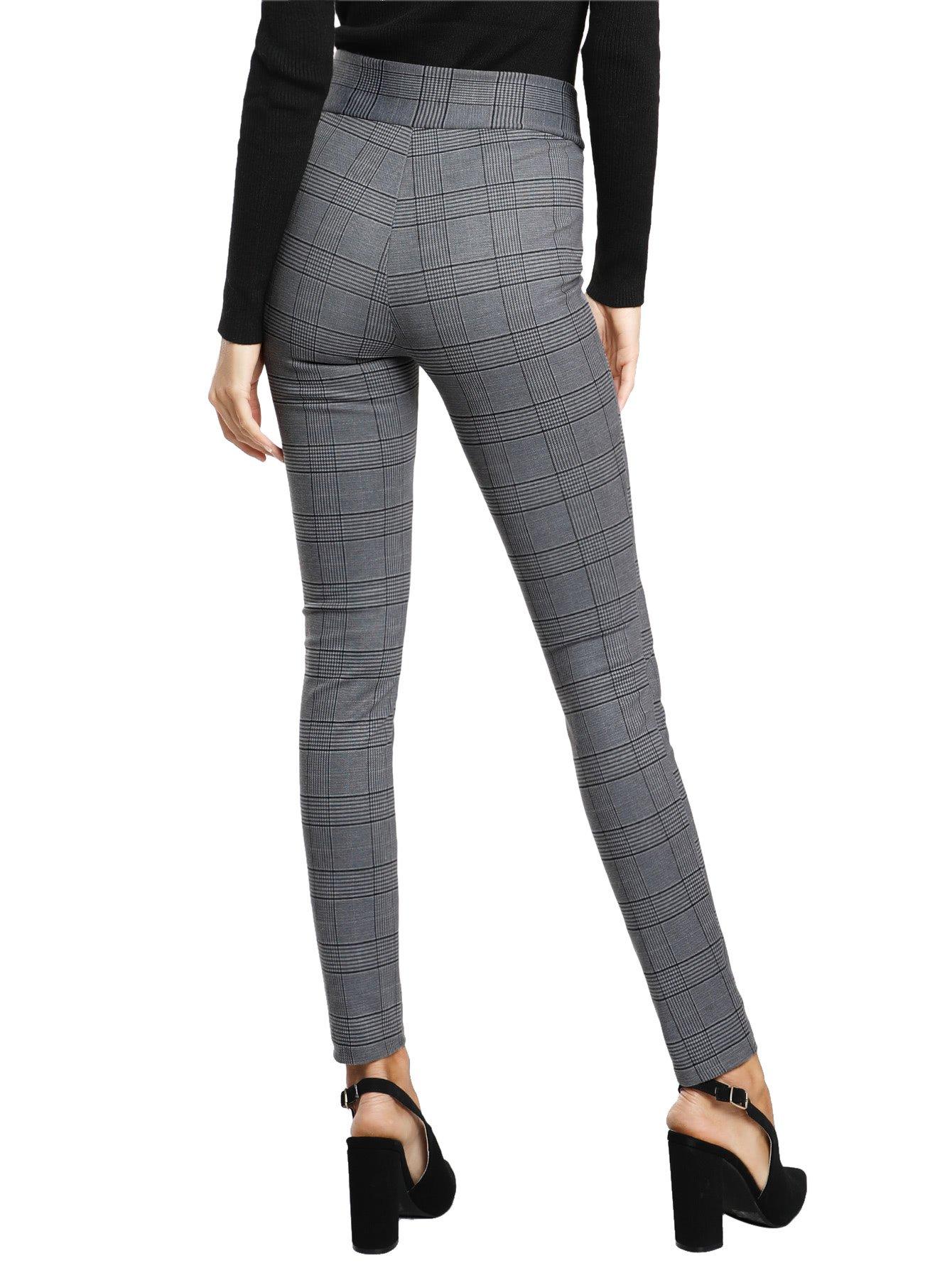 SweatyRocks Women's Casual High Waisted Ankle Plaid Pants Skinny Leggings, Grey #1, L by SweatyRocks (Image #2)