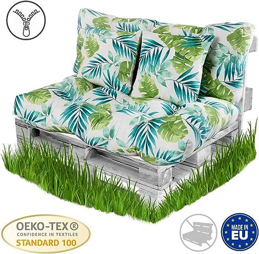 BCASE Pack Cojin Palet Fibra + Cojín Respaldo para Pales Acolchados, Cojín Relleno, Incluye Respaldo y Cojín del Asiento, Ideal para Jardín, Terraza, Patio y Balcón, Azul Tropical: Amazon.es: Jardín
