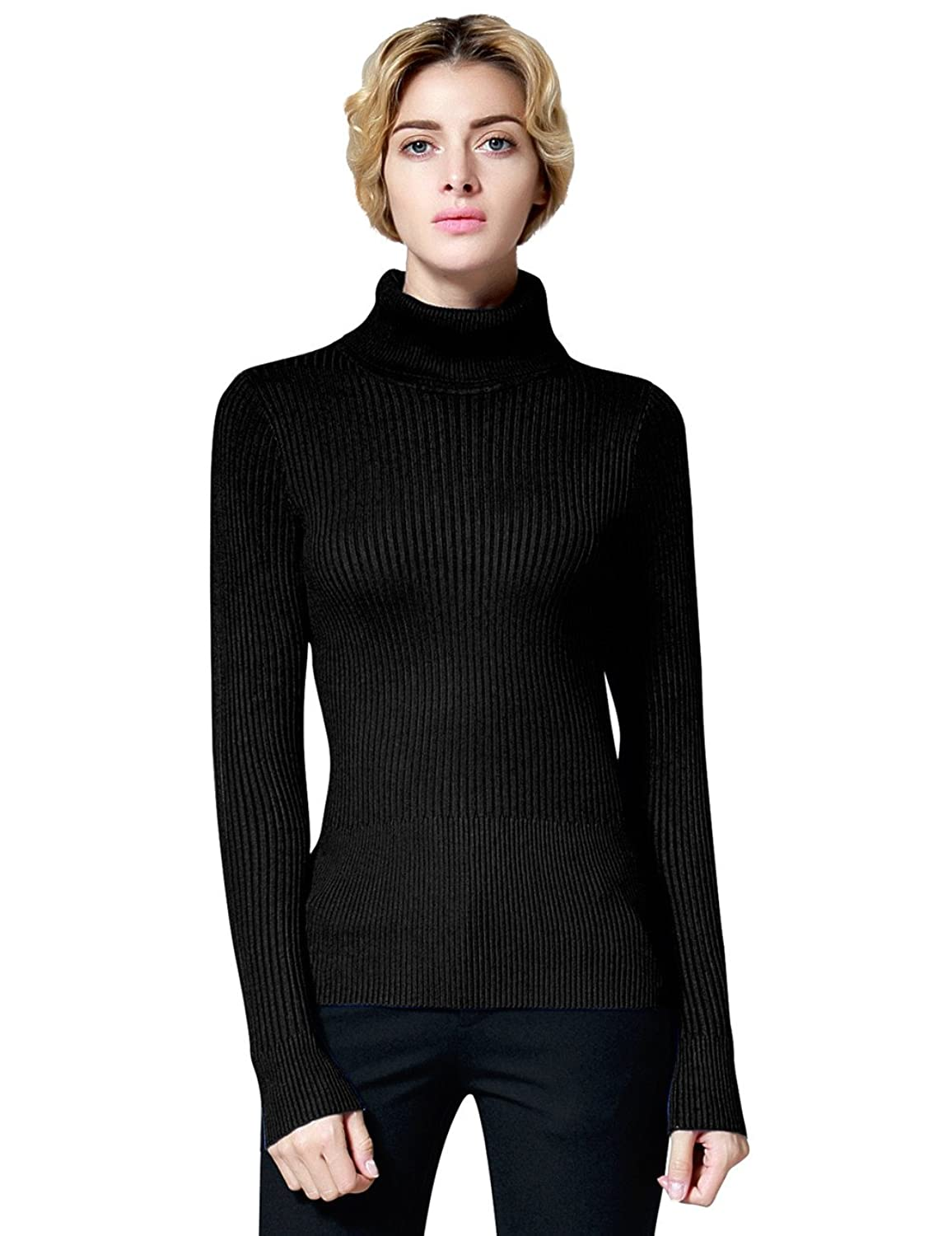 PrettyGuide Women's Ribbed Turtleneck Long Sleeve Sweater Tops at ...
