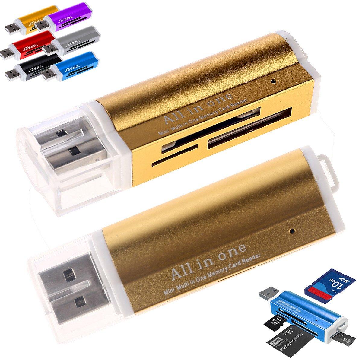 T-Flash, Memory Stick MS Micro M2 MS Pro Duo, microSD//SDHC, SD//SDHC, MMC, USB 2.0 LinQ/® Multi-Kartenleser 15 in 1 ,blau