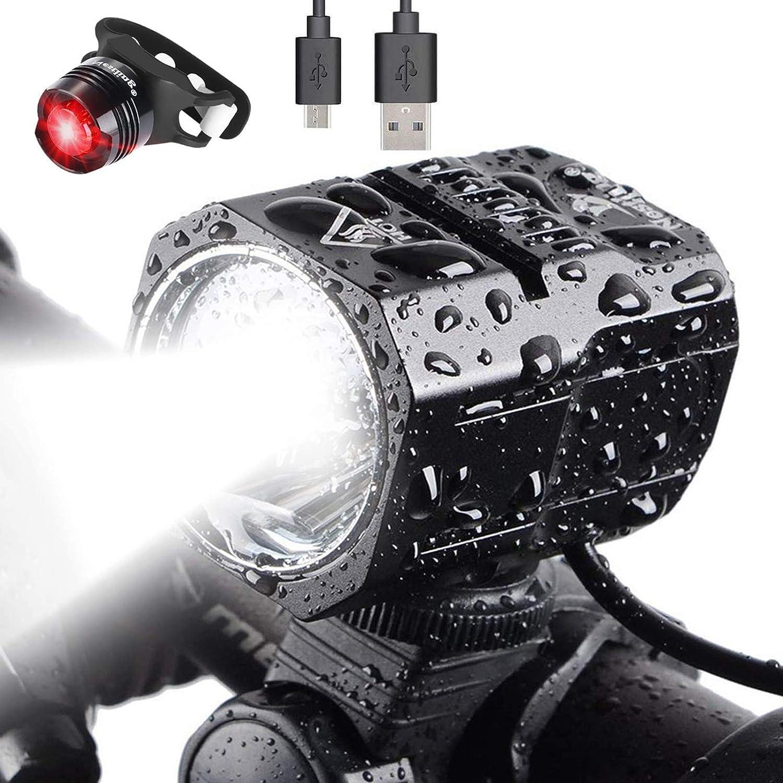 Nestling® Juego de Luces LED para Bicicleta Recargable por USB, Faro de Bicicleta de 1200 lúmenes Cree XM-L2 Linterna de Mano con luz Delantera LED Impermeable para Bicicleta con batería de 4400 mAh