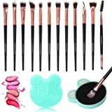 Unaone Eye Makeup Brushes 12pcs Eyeshadow Makeup Brushes Set Premium Synthetic Makeup Brush with 1 Wet & Dry Brush Cleaner fo